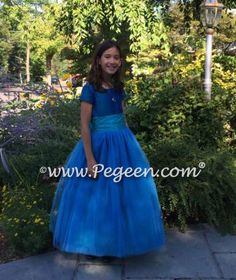 FLOWER GIRL DRESSES in Peacock Silk with turquoise sash and tulle skirt | Pegeen ~ Located 1 mile from Disney World, Selling online and shipping worldwide. Call us for design help! 407-928-2377