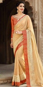 Wondrous Beige And Red Georgette Printed Saree.