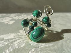 Wire wrapped adjustable Ring, Malachite, sterling silver, OOAK, 012 | JosiannesJewelry - Jewelry on ArtFire