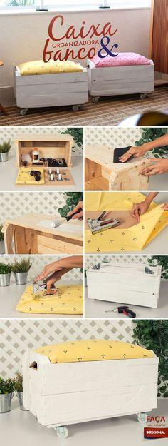 Que tal aprender a montar um item que além de funcional, decora e organiza? O nosso tutorial da semana é uma linda caixa organizadora, que serve de banco e é feita com caixote de feira. Confira!