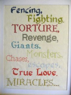 The Princess Bride Cross Stitch Sampler - PDF Pattern - Fencing, Fighting, Torture, Revenge....
