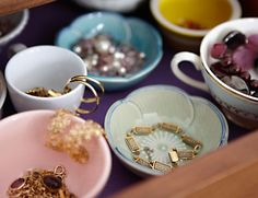 Convert a dresser, vanity or bathroom drawer into your very own treasure chest. Simply fill it with assorted little bowls, teacups and saucers and divide jewelry among them. Hook dangly earrings from the rims of cups, and nestle bracelets and necklaces inside dishes