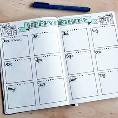 Super cute Birthday tracker from 50 Bullet Journal Page Ideas (With Examples!) to Inspire You Bullet Journal Books To Read, List Of Bullet Journal Pages, Bullet Journal Banners, Birthday Bullet Journal, Bullet Journal 2019, Bullet Journal Spread, Bullet Journal Inspo, My Journal, Journal Ideas