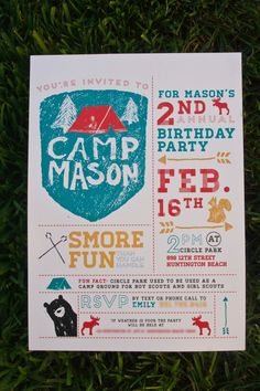 camping party invitations  guys my little boys are going to have the best parties. ugh. lets just fast forward like 10 years.