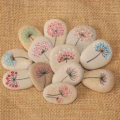 Pebble Painting, Dot Painting, Pebble Art, Stone Painting, Dandelion Painting, Dandelion Flower, Rock Painting Patterns, Rock Painting Designs, Art Patterns
