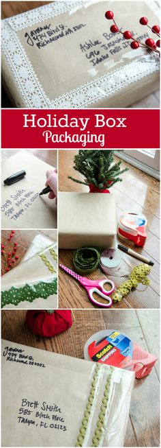 DIY Holiday box packaging ideas. Perfect for making gifts look festive even when being shipped!