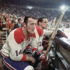 Closeup of Montreal Canadiens Claude Provost on bench during game vs Los Angeles Kings, Inglewood, CA Get premium, high resolution news photos at Getty Images Montreal Canadiens, Mtl Canadiens, Hockey Games, Hockey Players, Ice Hockey, Baseball Games, Hockey Sport, Hockey Drills, Basketball
