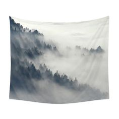 Mountain Tapestry Fog In The Forest Mist by LaChicHomeDecor