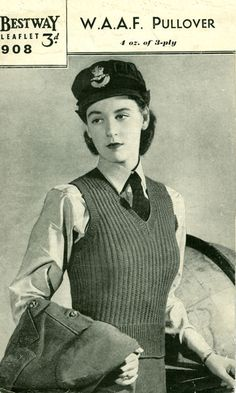 "ladies vintage service jumper WRAAF - forties WW2 services knitting pattern Bestway 113 - found this pattern while reading ""Code Name Verity"""