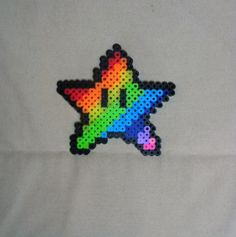 Rainbow Perler Bead Mario Star on Etsy, $3.00