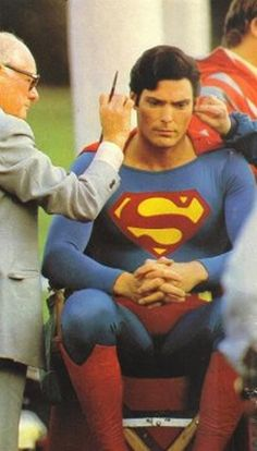 Superman Christopher Reeve in make up.