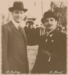 Black and White photo of Poirot and Hastings