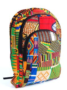 Ankara Kente Backpack: this is so hip and cool! In the summer it stands out and in the winter even more so! That is the one thing I love about african inspired designs - they are colourful and full of personality making them versatile African Dresses For Women, African Attire, African Wear, African Outfits, African Inspired Fashion, African Print Fashion, African Prints, African Accessories, Fashion Accessories