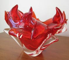 Vintage 1950's Red Czech Glass Chribska Bowl by whimsicalvintage, $45.00
