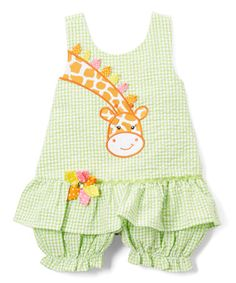 This Green Gingham Giraffe Bubble Romper - Toddler is perfect! #zulilyfinds