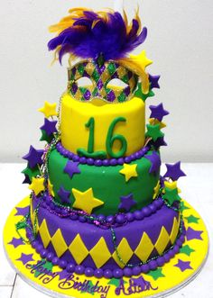 July 28, 2013 in the Warehouse at EBE.  Love this Mardi Gras-themed cake!  Happy Sweet 16 Aliah!