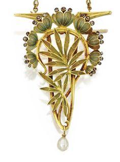 An art nouveau gold, enamel, diamond and pearl brooch-pendant by Louis Aucoc, France, circa 1901-1902.