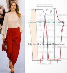 خياطة و تفصيل + باترون سروال نسائي patron de pantalon - اعمال فنية و اشغال يدوية handmade décoration broderie Diy Clothing, Clothing Patterns, Dress Patterns, Sewing Patterns, Sewing Pants, Sewing Clothes, Fashion Sewing, Diy Fashion, Diy Pantalon