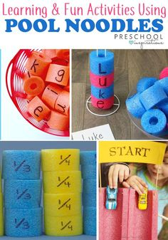 learning activities to do with pool noodles this summer! Includes literacy, math, sensory, fine motor, and other activities! - Kids education and learning acts Motor Skills Activities, Kids Learning Activities, Preschool Themes, Summer Activities For Kids, Infant Activities, Fun Learning, Kinesthetic Learning, Alphabet Activities, Toddler Learning