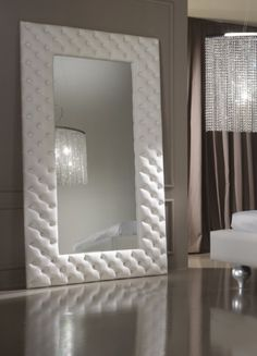 white leather mirror
