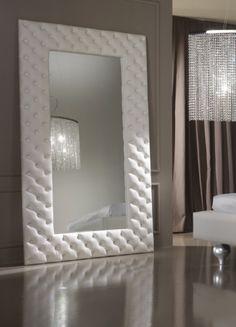 white leather mirror