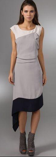 BCBG MaxAzra RUNWAY Navy/Grey Colorblock Dress