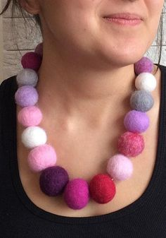 Felt Balls Necklace Multicolor Chunky Balls Wool Necklace Colored Pink Purple White Beads Organic Eco Friendly Statement Felt Balls Necklace Felted Jewelry, Textile Jewelry, Fabric Jewelry, Felt Necklace, Fabric Necklace, Cute Jewelry, Unique Jewelry, Felt Ball, Wool Fabric
