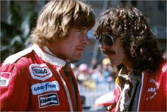 "George Harrison and friend Formula One champion (1976) James Hunt. whose nickname was ""Hunt The Shunt"""