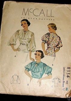 mccall #8334 c.1935 / Basic peasant style blouse with the addition of smocked sleevehead ~