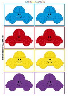 Jogo da memória, Memória das cores, Carrinhos coloridos