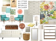 colorful living room #moodboard, by glitter glimmer sparkle shimmer #anthropologie