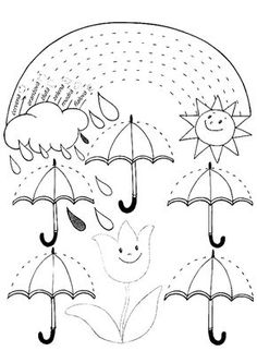 Spring rain ☔️ rainbow tracing page April Preschool, Preschool Writing, Preschool Learning Activities, Free Preschool, Preschool Activities, Kids Learning, Tracing Worksheets, Kindergarten Worksheets, Worksheets For Kids