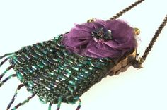 Small Vintage Green Beaded Purse with organza by RedLittleVintage, $55.00