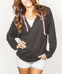 Look at this Black V-Neck Hoodie on #zulily today!
