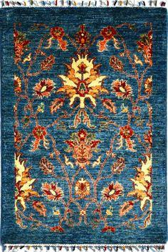 Hand-knotted Fine Chobi All-over Design Woolen Area Rug, Rug size 82 x 123 cm