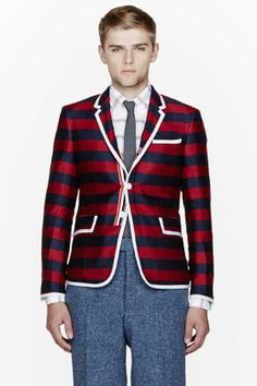 Thom Browne Navy Striped Silk-cashmere Blazer for men | SSENSE