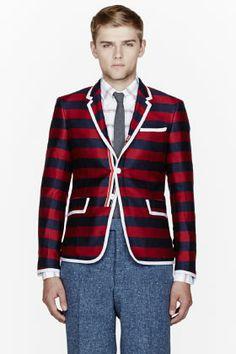 Thom Browne Navy Striped Silk-cashmere Blazer for men | SSENSE