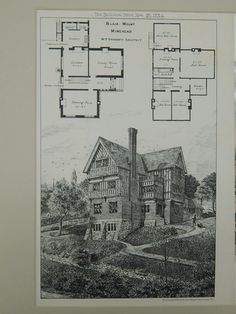 """An Original Photogravure of the House, """"Woodside"""" in Great Stanmore, UK. EARLY PHOTOGRAPH. Arnold Mitchell, F. R. I. B. A., Architect. From the American Architect and Building News, August 24, 1895. T"""