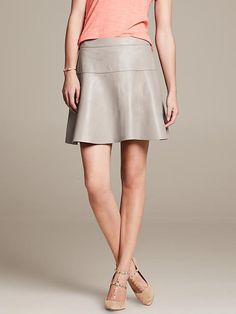 Gray Leather Fit-and-Flare Skirt
