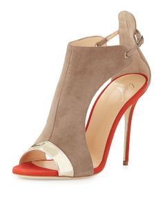 """Giuseppe Zanotti high-vamp sandal in two-tone calf suede with metallic trim. 4.3"""" covered heel. Open toe. Side cutouts. Adjustable ankle strap connects vamp to raised heel counter. Smooth leather outs"""