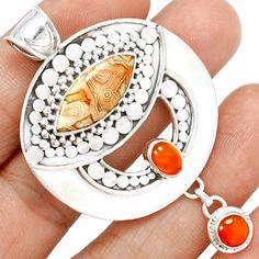 Mexican Laguna Lace Agate 925 Sterling Silver Pendant Jewelry LLAP861 - JJDesignerJewelry