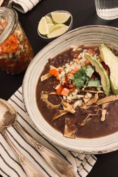 If you've ever been to a Sweet Tomatoes or Souplantatiton, you might have tried their delicious Santa Fe Black Bean Chili, which inspired this Black Bean Soup recipe. Cooked in the Instant Pot, this is a whole food plant based, oil free, and gluten free recipe. Black Bean Chili, Black Bean Soup, No Bean Chili, Gluten Free Recipes, Vegan Recipes, Mexican Black Beans, Bean Soup Recipes, Recipe Notes, Salsa Verde