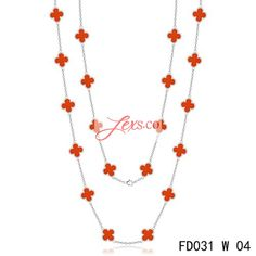 Van Cleef & Arpels Vintage Alhambra 20 Motifs Long Necklace Replica White Gold Carnelian