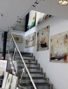 PETRA LORCH | ABSTRAKTE MALEREI | www.lorch-art.de | Petra Lorch | Freischaffende Künstlerin | mail@lorch-art.de | Modern Hallway, Modern Stairs, Modern Frames, Gallery Wall Staircase, Art Of Living, Diy Room Decor, Home Decor, Acrylic Art, Modern Interior Design