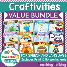 Speech & Language Therapy Activities, Crafts and Worksheets Bundle Social Skills Activities, Sequencing Activities, Speech Therapy Activities, Speech Language Therapy, Language Activities, Speech And Language, Kindergarten Worksheets, Craft Activities, Vocabulary Cards