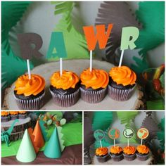 This dinosaur party theme can be customized in any colors and for any guest amou. 3rd Birthday Party For Boy, Dinosaur Birthday Party, Birthday Ideas, Dinosaur Cupcake Toppers, Kids Party Themes, Party Ideas, Backdrops For Parties, Decoration, Ale