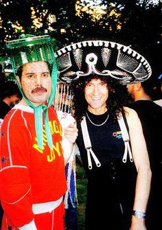 Freddie Mercury and Brian May on Freddie's 40th birthday-party, 1986.