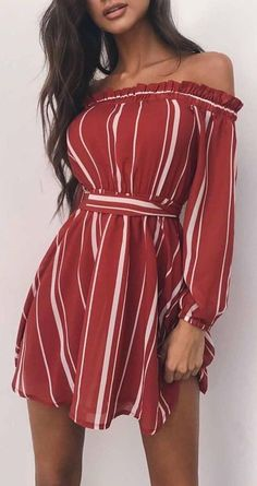 #summer #outfits / red striped off the shoulder sun dress