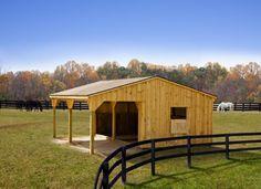 12 x 24 Run-In Horse Barn / White Pine Board and Batten | Penn Dutch Structures