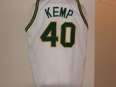 #40 Shawn Kemp Seattle SuperSonics NBA PF 1989-1997 White Throwback Jersey.